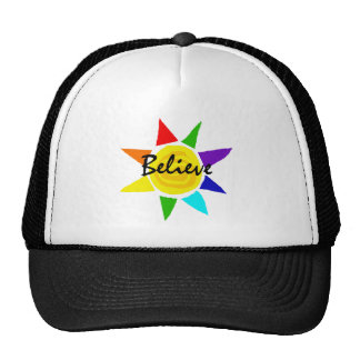 Inspirational Rainbow Sun Believe Art Cap