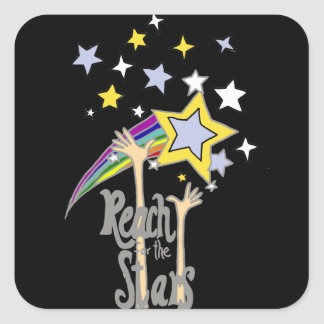 Inspirational Reach for the Stars Abstract Art Square Sticker