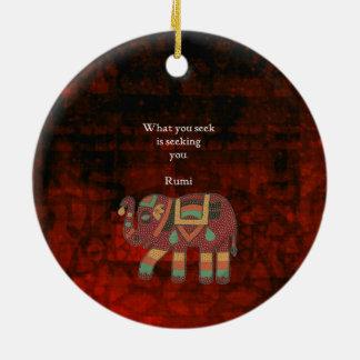 Inspirational Rumi What You Seek Quote Round Ceramic Decoration