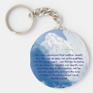 Inspirational Scripture Angel In Clouds, Romans Basic Round Button Key Ring