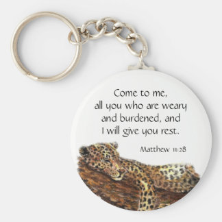 Inspirational Scripture Matthew 11:28 Key Ring