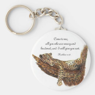 Inspirational, Scripture, Matthew 11:28, Leopard Key Ring