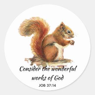 Inspirational Scripture Quote Squirrel Art Classic Round Sticker