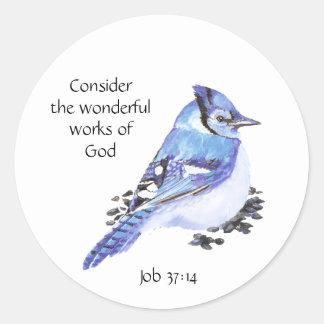 Inspirational Scripture Quote Watercolor Bird Art Classic Round Sticker
