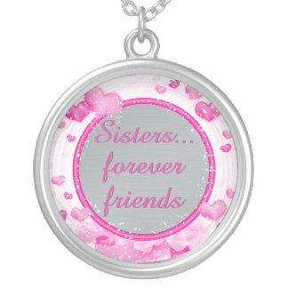 Inspirational Sisters Quote | Forever Friends Pink Silver Plated Necklace
