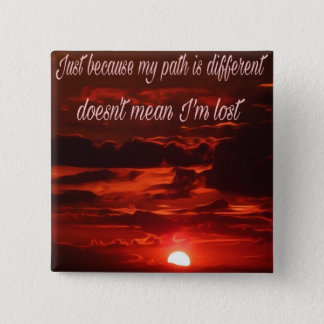 Inspirational sunset design. 15 cm square badge