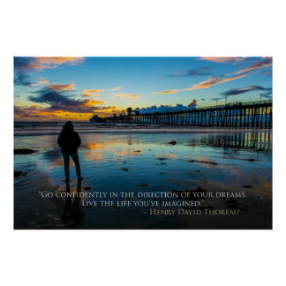 Inspirational Sunset in Oceanside Thoreau Quote Poster