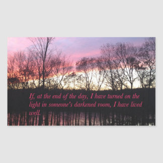 Inspirational Sunset Quote Rectangular Sticker