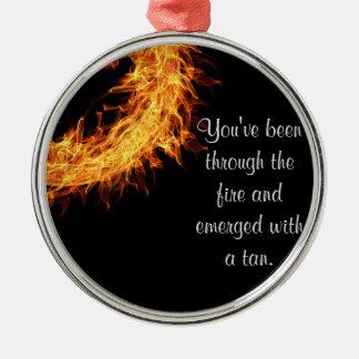 Inspirational survivor message Silver-Colored round decoration