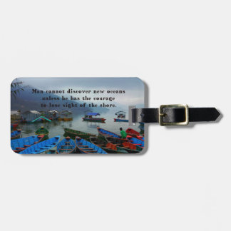 Inspirational Travel quote DISCOVERY boat photo Luggage Tag