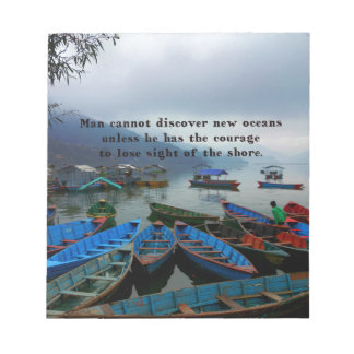 Inspirational Travel quote DISCOVERY boat photo Notepad