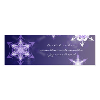 Inspirational winter snowflake bookmark with quote pack of skinny business cards