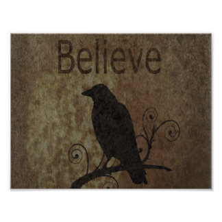 Inspirational Words Believe with Vintage Crow Art Photo