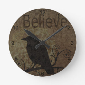 Inspirational Words Believe with Vintage Crow Round Clock