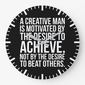 Inspirational Words - Desire To Achieve Large Clock