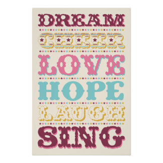 Inspirational Words/ Dream/ Love/ Hope Poster
