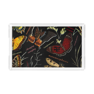 Inspirational Words on Colorful Butterflies Acrylic Tray
