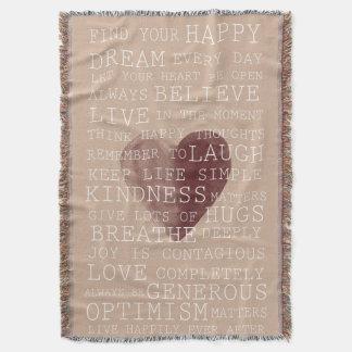 Inspirational Words Watercolor Heart Throw Blanket