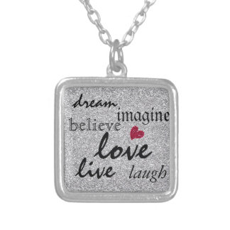 Inspirational Words with Glitter Accents Square Pendant Necklace