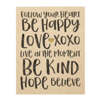 Inspirational Words with Gold Heart Wood Print