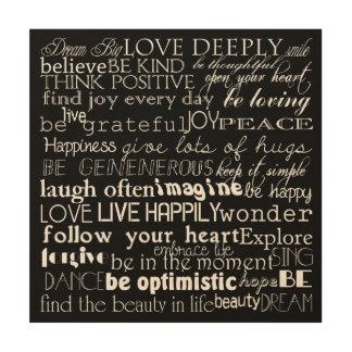 Inspirational Words Wood Print