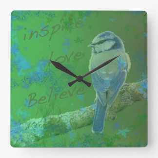 Inspire Love Believe Bird Clock