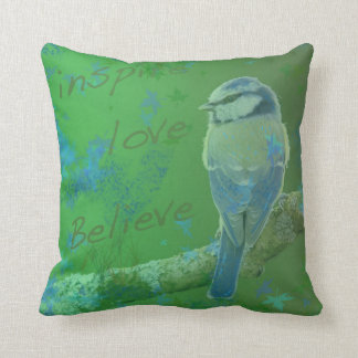 Inspire Love Believe Bird Throw Pillow