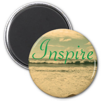"""Inspire"" Ocean Waves Photograph 6 Cm Round Magnet"