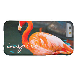 """""""Inspire"""" Quote Cute, Pink Orange Flamingo Photo Barely There iPhone 6 Case"""