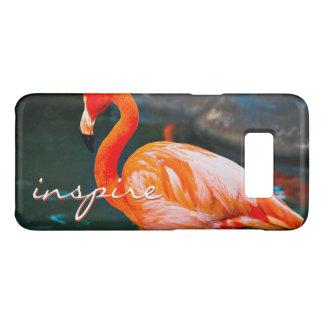 """Inspire"" Quote Cute, Pink Orange Flamingo Photo Case-Mate Samsung Galaxy S8 Case"