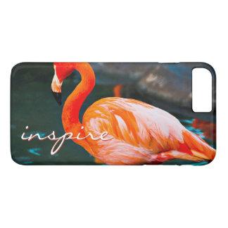 """""""Inspire"""" Quote Cute, Pink Orange Flamingo Photo iPhone 8 Plus/7 Plus Case"""