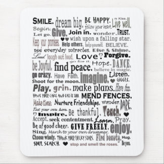 Inspire word art collage mouse pad