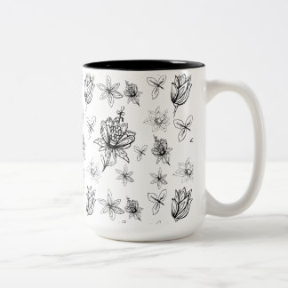 Inspired by the style of 1970's bold black and wh Two-Tone coffee mug