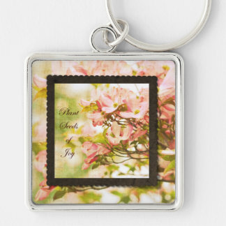 Inspired Dogwood Flowers Silver-Colored Square Key Ring