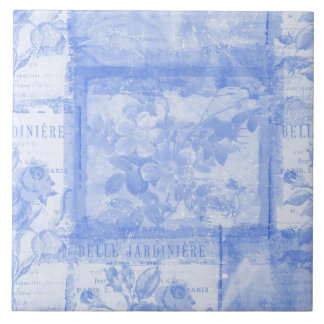 Inspired French Botanical Blue Ceramic Tile