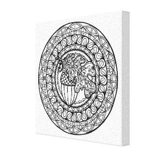 Inspired Mandala Autumn Oak Leaf 6 Stretched Canvas Prints
