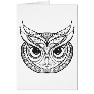 Inspired Owl With Tribal Ornaments Card