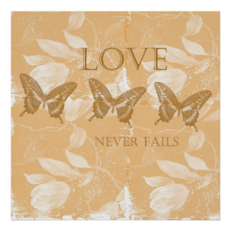 Inspired Peach Floral Love Posters