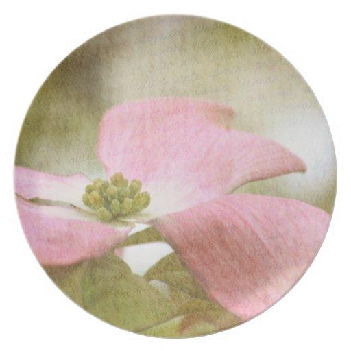 Inspired Pink Dogwood Flower Dinner Plate
