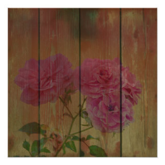 Inspired Rustic Pink Roses Poster