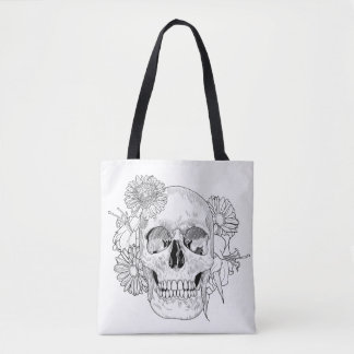 Inspired Skull And Flowers 2 Tote Bag