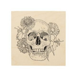 Inspired Skull And Flowers 5 Wood Print
