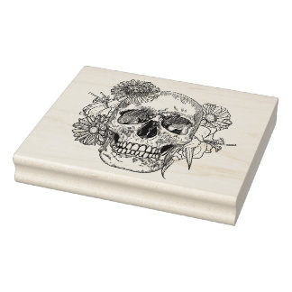 Inspired Skull And Flowers Rubber Stamp
