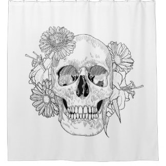 Inspired Skull And Flowers Shower Curtain