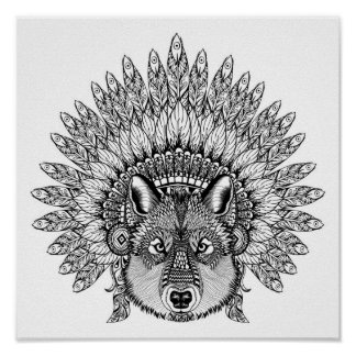 Inspired Wolf In Feathered War Bonnet 2 Poster