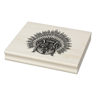 Inspired Wolf In Feathered War Bonnet Rubber Stamp