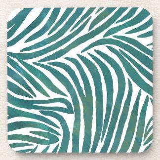 Inspired Zebra Print  Teal Beverage Coasters