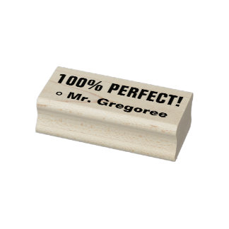 """Inspiring """"100% PERFECT!"""" Grading Rubber Stamp"""