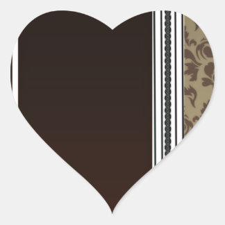 Inspiring Brown Damask Pattern Heart Sticker