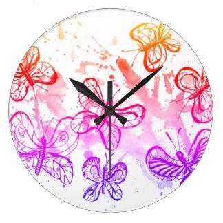 Inspiring butterflies large clock